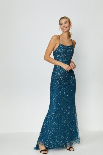 Coast All Over Sequin Cross Over Back Maxi Dress Blue