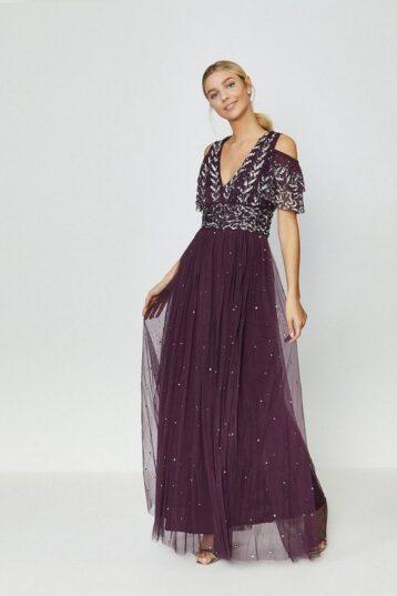 Coast Cold Shoulder Embellished Maxi Dress Berry Merlot Purple