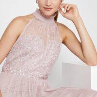 Coast High Neck Sequin Mesh Maxi Bridesmaid Dress Blush Pink