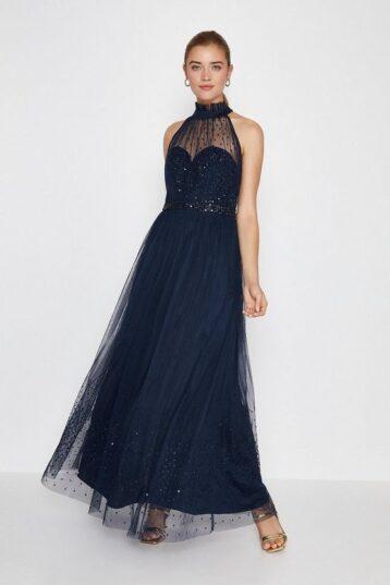 Coast High Neck Sequin Mesh Maxi Bridesmaid Dress Navy Blue