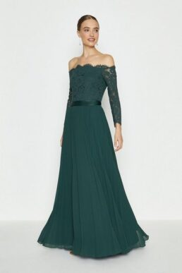 Coast Lace Bodice Bardot Maxi Bridesmaid Dress Green