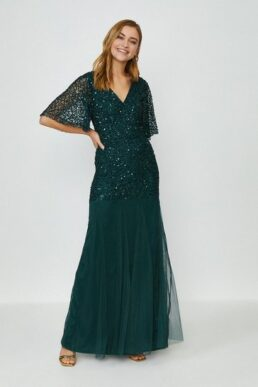 Coast Sequin Angel Sleeve Maxi Dress Green