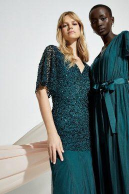 Coast Sequin Angel Sleeve Maxi Dress Green
