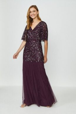Coast Sequin Angel Sleeve Maxi Dress Merlot