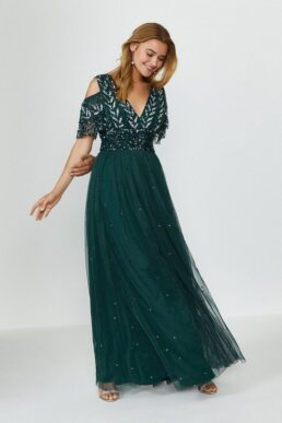 Coast Cold Shoulder Embellished Maxi Dress Green