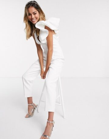 Forever New elevated ruffle shoulder jumpsuit in white