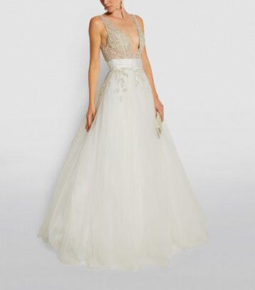 Jovani Embellished Tulle Gown Off White