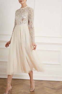 Needle & Thread Tempest Bodice Ballerina Dress Ivory Silver