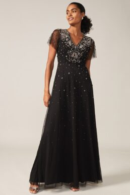 Phase Eight Pascale Jewelled Tulle Dress Black Silver