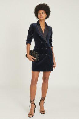 Reiss Karlie Velvet Tuxedo Short Dress Navy Blue