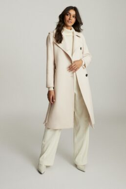 Reiss Sian Wool Blend Trench Coat Ivory Neutral