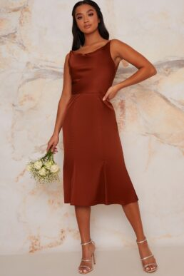 Chi Chi Petite Tamara Short Bridesmaid Dress Dark Orange