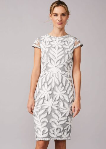 Phase Eight Isobel Tapework Lace Fitted Dress, Mineral Pale Blue Ivory Grey