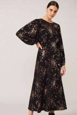 Phase Eight Jacinta Floral Foil Dress Black Gold
