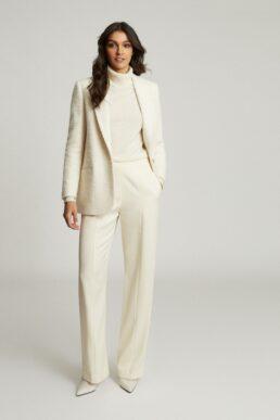 Reiss Luisa wide leg tailored trousers cream white