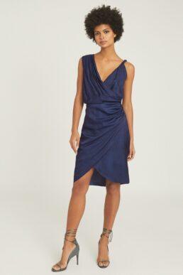 Reiss Zaria Drape Front Cocktail Dress Blue