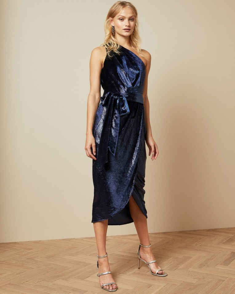 ABINAA Metallic one shoulder draped midi dress £199 £99