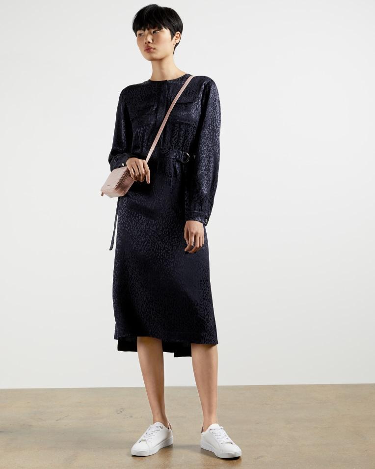 KINZLEY Animal jacquard midi dress