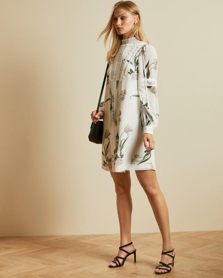 LEYORA Elderflower smock dress