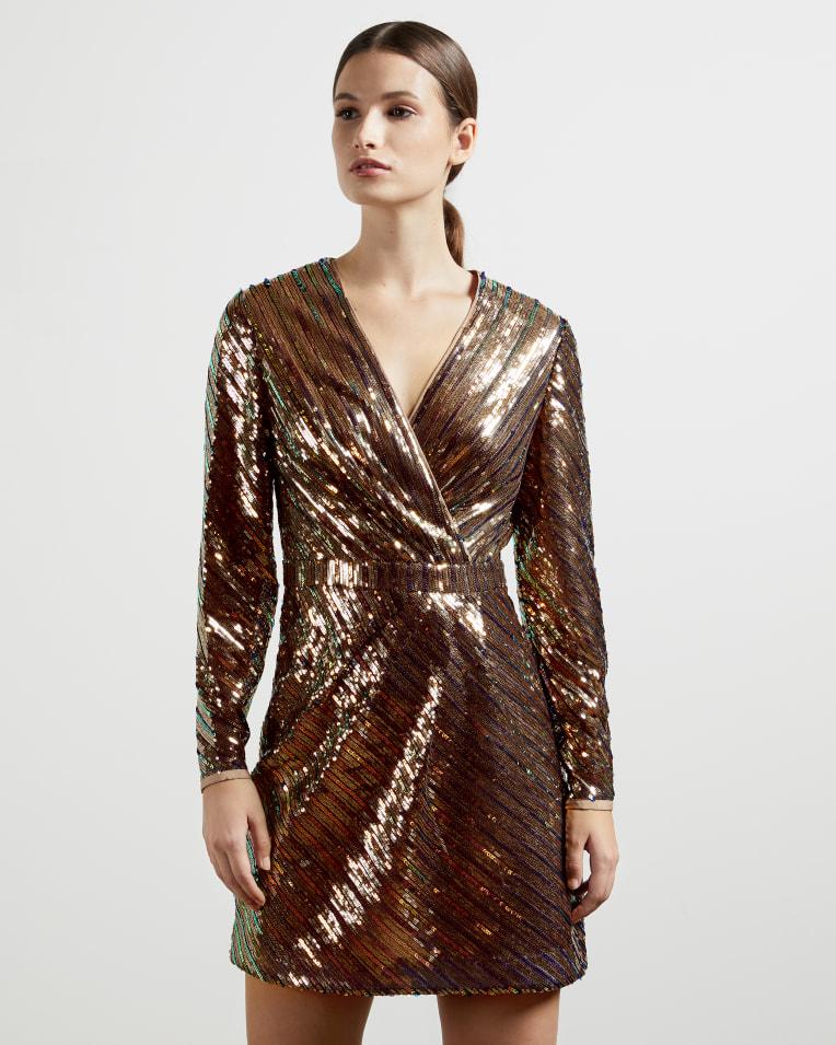 PIPII Stripe sequin mini dress