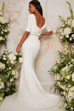 Chi Chi Bridal Wedding Dress with Scoop Back Design in White