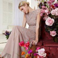 Coast Angel Sleeve Sequin Maxi Dress Light Pink Blush