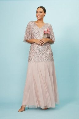 Coast Curve Angel Sleeve Sequin Maxi Dress Light Pink Blush