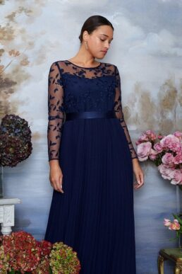 Coast Curve Embroidered Long Sleeve Maxi Dress Navy Blue
