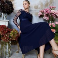 Coast Embroidered Long Sleeve Maxi Dress Navy Blue
