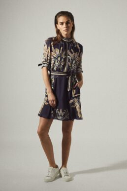 Reiss Maria feather printed mini dress, navy blue/Multi