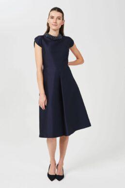 Hobbs Christie Silk Wool Embellished Dress Navy Blue