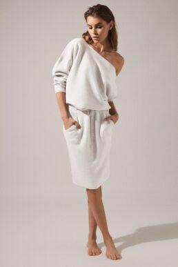 Reiss Amara off the shoulder knitted dress light grey marl