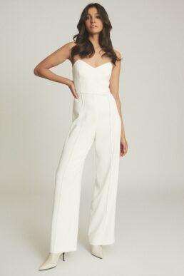 Reiss Bea Buckle Detail Jumpsuit White Cream