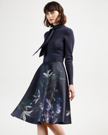 Ted Baker DOMINAA Pomegranate Full Skirt Dress Navy Multi