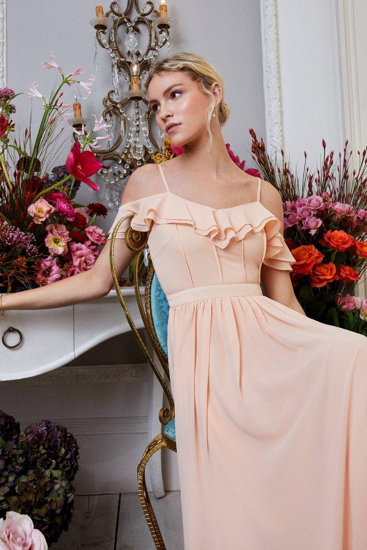 Cold Shoulder Ruffle Maxi Dress
