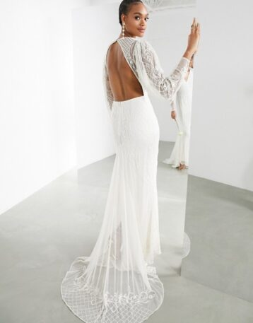 ASOS EDITION Lucy placement beaded wedding dress Ivory