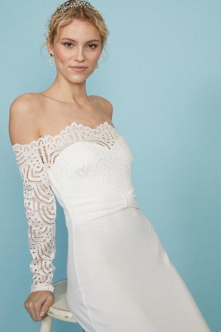 Long Sleeve Lace Bardot Bridal Maxi Dress, was £129.00 > now £90.30