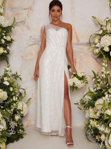 Chi Chi Bridal Abby Sequin One Shoulder Cape Wedding Dress Dress