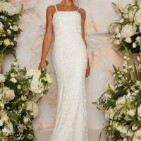 Chi Chi Bridal Embroidered Caroline Dress White