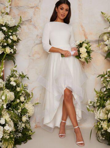 Chi Chi Bridal RebeccaTulle Skirt Sleeve Dress White