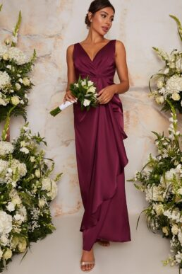 Chi Chi Satin Finish Wrap Detail Maxi Bridesmaid Dress Berry Red