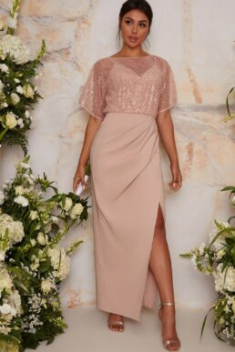 Chi Chi Sequin Bridesmaid Maxi Dress With Wrap Detail In pink Blush