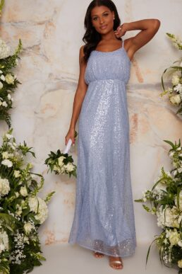 Chi Chi Sequin Bridesmaid Maxi Style Dress In Blue lilac