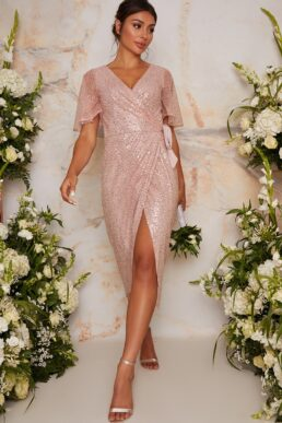 Chi Chi Sequin Wrap Midi Dress With Short Sleeves In Pink Blush