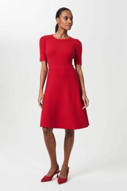 Hobbs Drew Knitted Skater A-line Sleeve Dress Red