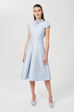 Hobbs Marcella Silk Wool Beaded Dress Light Blue