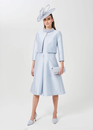 Hobbs Marcella Silk Wool Jacket Light Blue