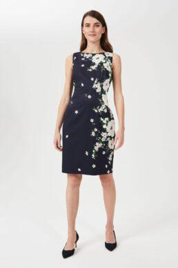 Hobbs Moira Floral Dress Navy White Multi