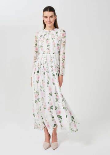 Hobbs Rosabelle Silk Floral Printed Dress Pink Multi