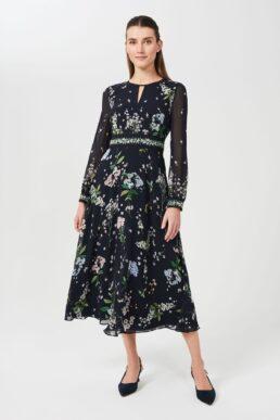 Hobbs Skye Silk Floral Printed Dress Navy Multi